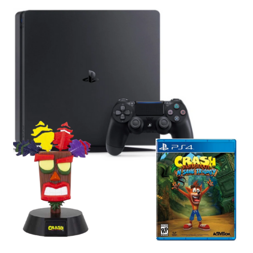 [INN03179] Consola Sony PlayStation 4 Slim 500GB + Juego Sony PlayStation 4 Crash Bandicoot N. Sane Trilogy + Lámpara Gamer Aku Aku