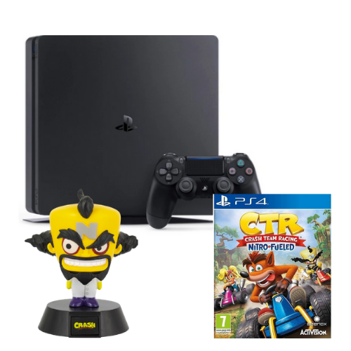 [INN03180] Consola Sony PlayStation 4 Slim 500GB + Juego Sony Crash Team Racing Nitro-Fueled PS4 + Lámpara Gamer Dr Neo Cortex